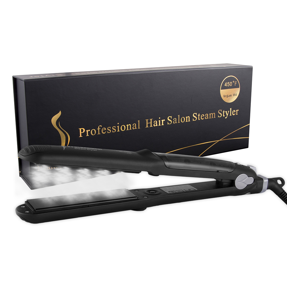 Función de Vapor profesional hierro plano de cerámica turmalina Vapor plancha de pelo profesional con aceite de argán alisadores de pelo
