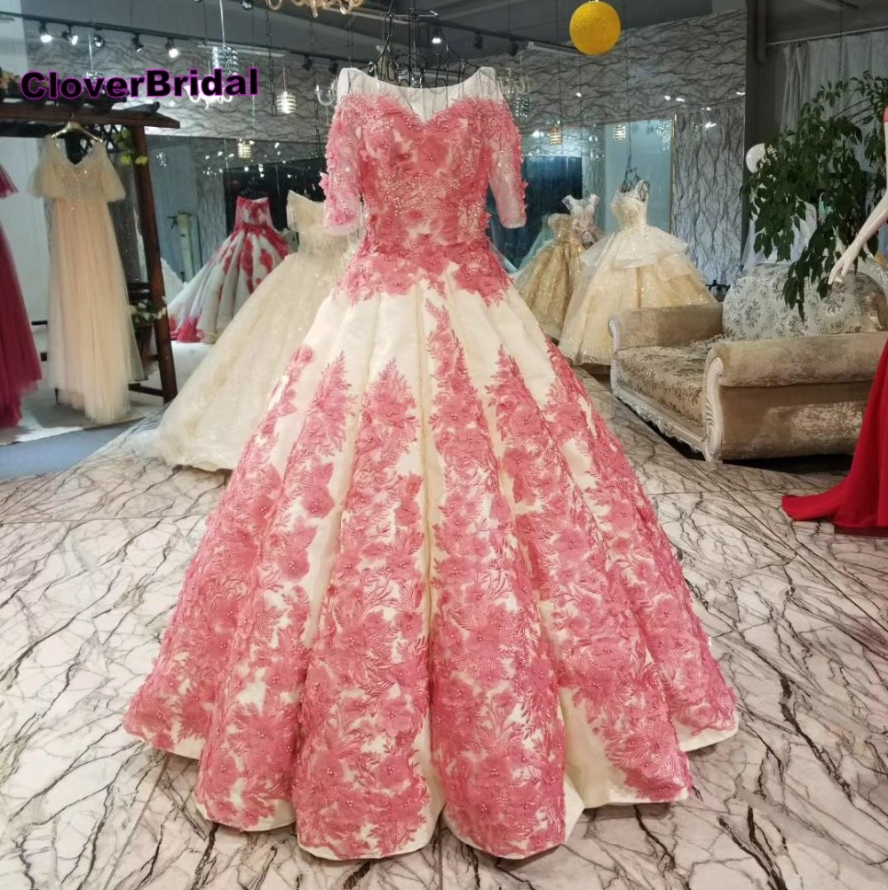 CloverBridal good quality pink 3D lace appliques flowers satin wedding dress puffy big skirt abito da sposa champagne