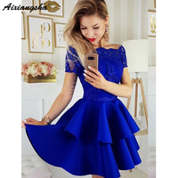 Royal Blue Short Sleeves Prom Dresses Short Mini Cute A Line Off the Shoulder Satin Lace Homecoming Dresses