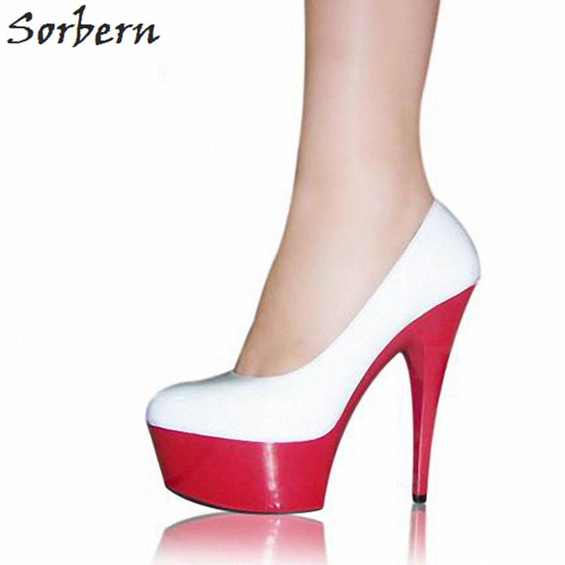 Sorbern 15Cm White Heels Women Round Toe Slip On Pole Dance Shoes Ladies Size 35-46 Platform Heels Woman Shoes 2018 Spring meotina women wedding shoes 2018 spring platform high heels shoes pumps peep toe bow white slip on sexy shoes ladies size 34 43