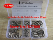 150pcs M4 Cup Point Hex Socket Set Screw DIN916 stainless steel Grub screws M4*6/8/10/12/16/20mm