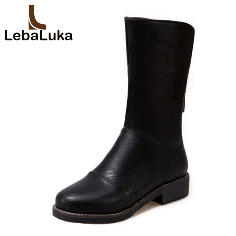 LebaLuka Size 33 44 Women Winter Mid Calf Boots Zipper Warm Fur Shoes Woman Round Toe Flats Boots Ladies Concise Short Boots