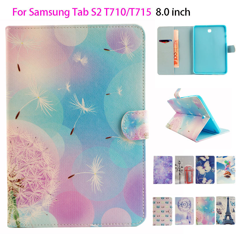 Fashion Painted Pu Leather Tablet Cover sFor Samsung Tab S2 flip Case For Samsung Galaxy Tab S2 8.0 SM-T710 T715 Funda Shell