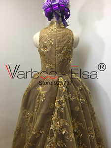 Image 3 - Real Photos gold Luxury Sequined Lace Evening Dresses Halter Hand Pleated Custom Made Vestido De Festa 2017 from Yousef Aljasmi