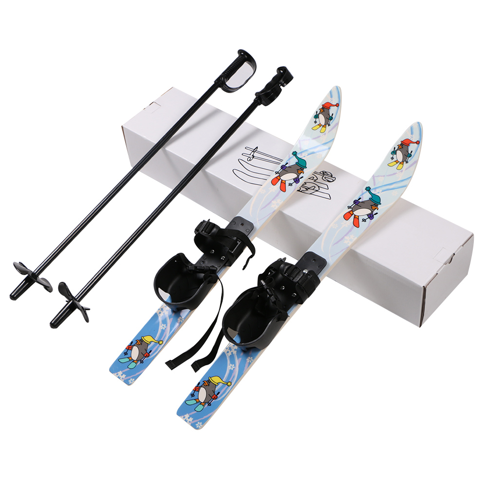 Plastic Snowflake Skis with Poles Perfect for Kids Age 2-4 to Learn Skiing