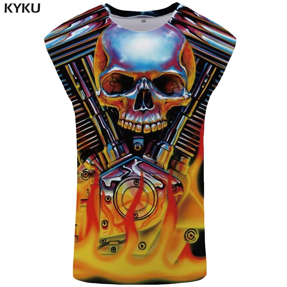 KYKU Skull   Tank     Top   Men Hip Hop Undershirt Mechanical Vest Ftness Stringer Mens Clothing Punk Singlet New Flame Sleeveless Shirt