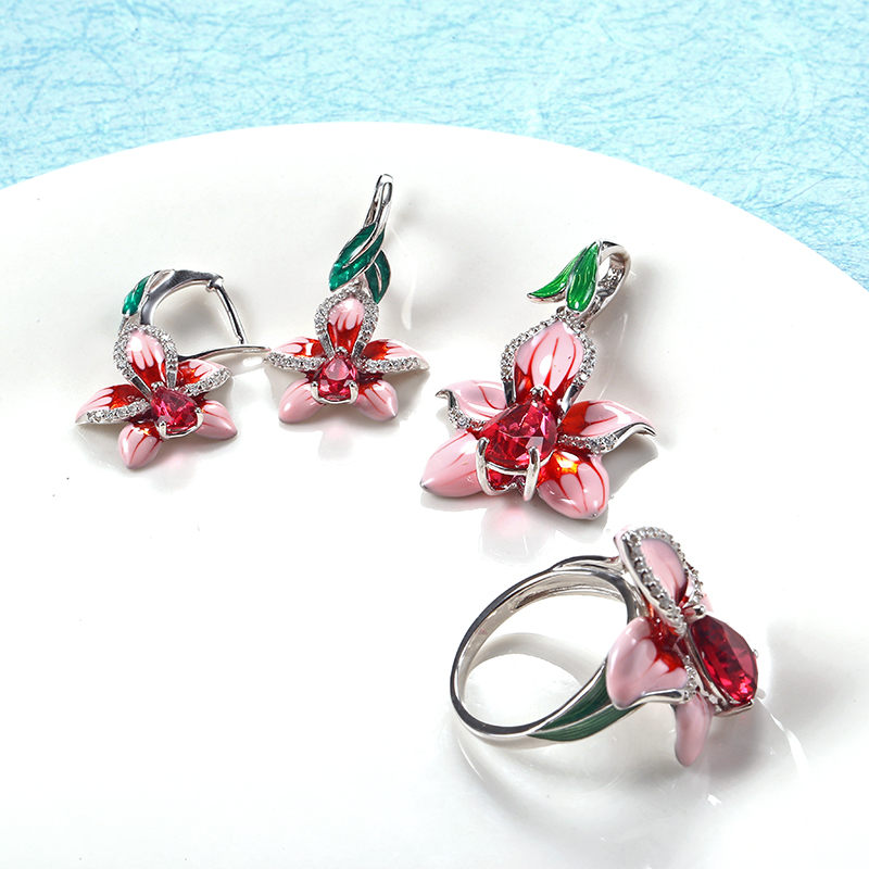 2018 New Pink Enamel silver orchid Jewelry Set (stub Earrings Pendant ring) Authentic 925 Sterling Silver Jewelry DIY Making (7)