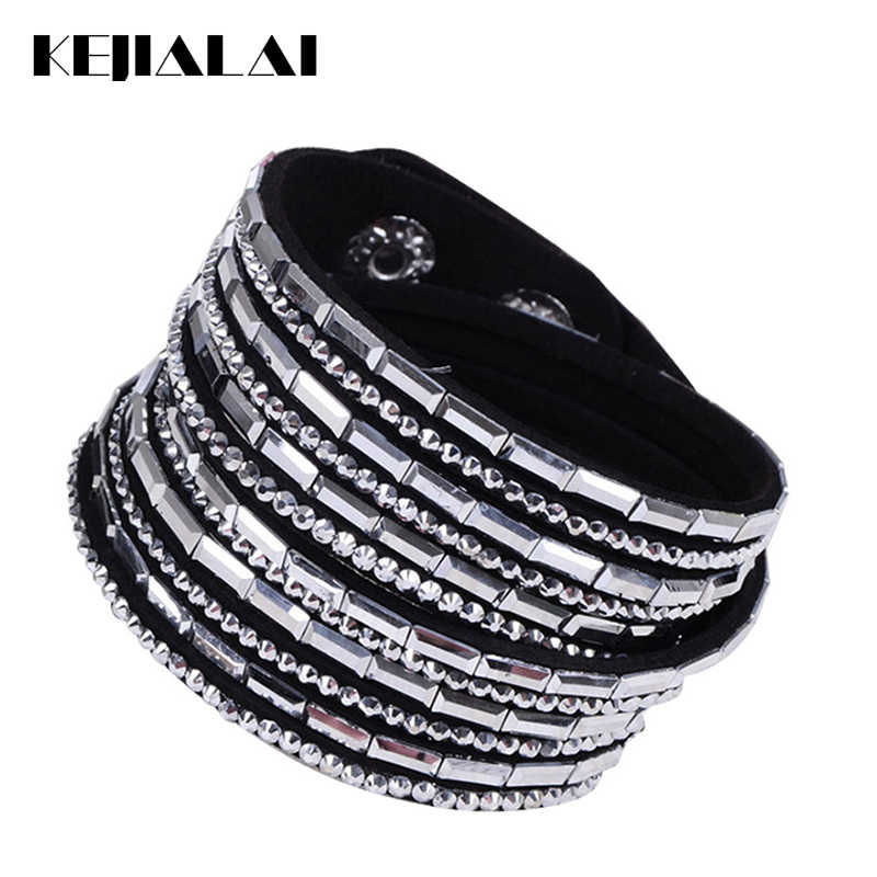 KEJIALAI Brand Wrap Bracelets for Women Men's Leather Bracelet 2018 New Crystal Black Blue Pink Fashion Jewelry Gifts KJL005