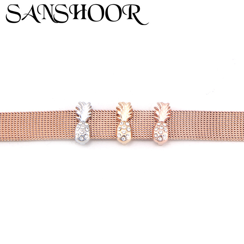 Jewelry & Accessories Persevering Sanshoor Jewelry Crystal Fruits Pineapple Slide Charm Fit 10mm Stainless Steel Mesh Bracelet For Women Men Diy Accessory Making Beneficial To The Sperm Jewelry Sets & More
