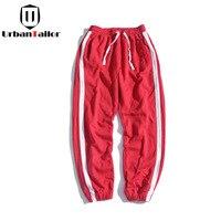 UrbanTailor Coton Blanc Côté Bande pantalons de Survêtement Hommes Rouge Couleur Joggers Hommes Occasionnels Pantalon Hommes Pantalon Qualité Marque Hommes Vêtements