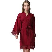 YUXINBRIDAL Wedding Solid  bride Rayon Cotton Kimono Robes With Lace Trim Women Bridal Robe Short Belt Bathrobe 001