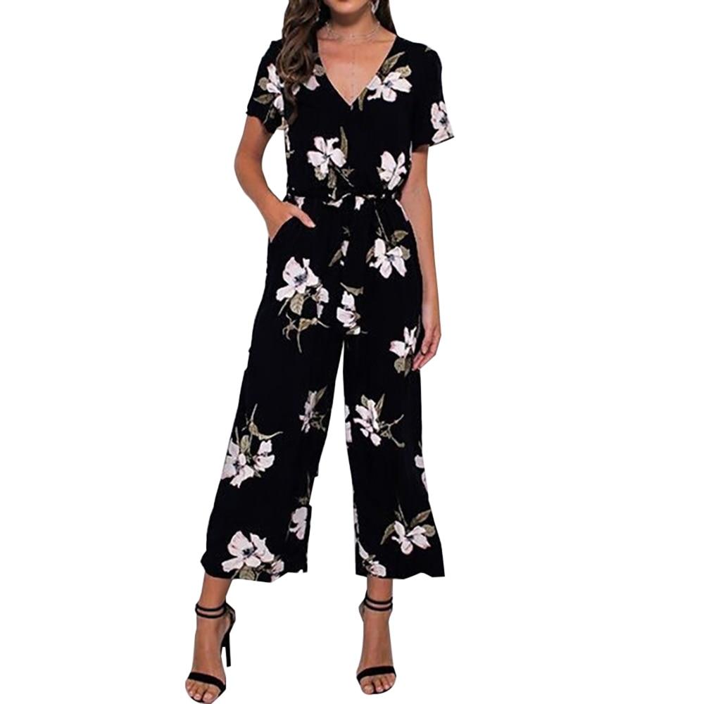 Office Lady Womens Playsuit 4Color Deep V Neck Slim Solid Bodysuit Party   Jumpsuit   Romper Chiffon Long Wide Leg Trousers Clubwear