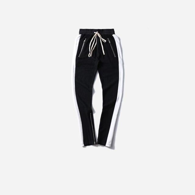 1a4dfb93a Pants Men Retro Side White Striped Zipper Pants Cotton Trousers Mens  Elastic Waist Fashion Joggers Sweatpants