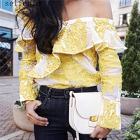 Self Portrait Lace Blouse Ladies Tops 2017 Slash Neck Yellow Women Top
