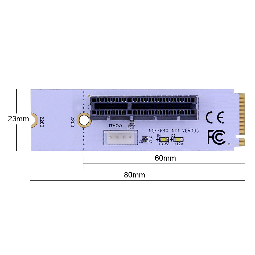 Image 2 - CHIPAL NGFF M.2 to PCI E 4X Riser Card M2 Key M to PCIe X4 Adapter with LED Voltage indicator for ETH Bitcoin Miner Mining-in Computer Cables & Connectors from Computer & Office