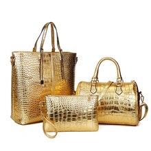 3 Stücke Luxus Alligator Krokodil Frauen Leder Handtasche Set Berühmte Marke Frauen Schultertasche Damen Handtaschen Clutch Tasche Gold