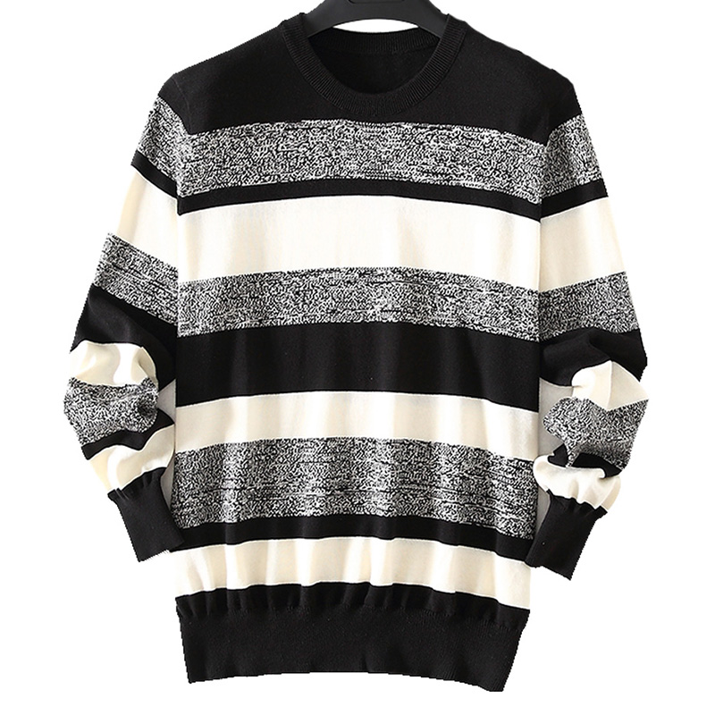 ZHILI Men's Striped Purified Cotton Sweater