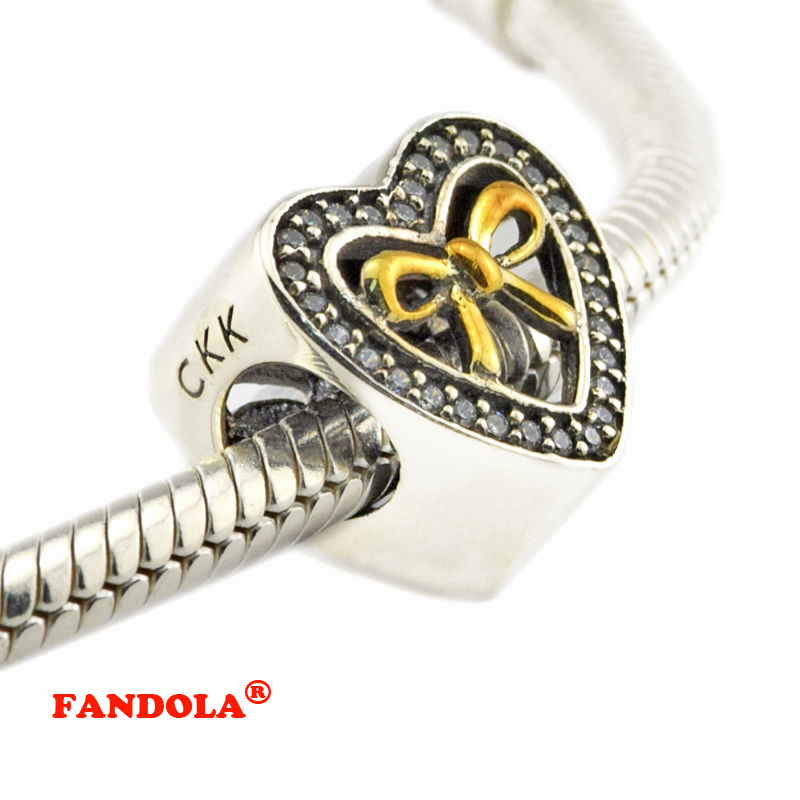 Fit Pandora Bracelets Gold Knot Bound By Love Heart Beads with 14K Real Gold 925 Sterling Silver Charms Jewelry Free Shipping