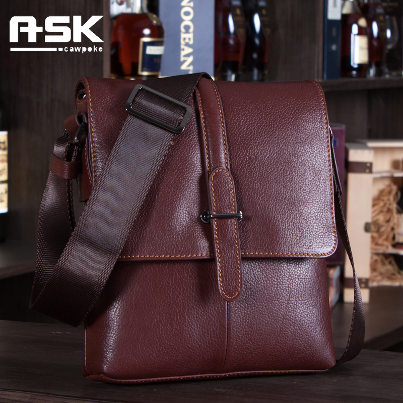Ask genuine leather male shoulder bag business casual messenger bag first layer of cowhide man bag