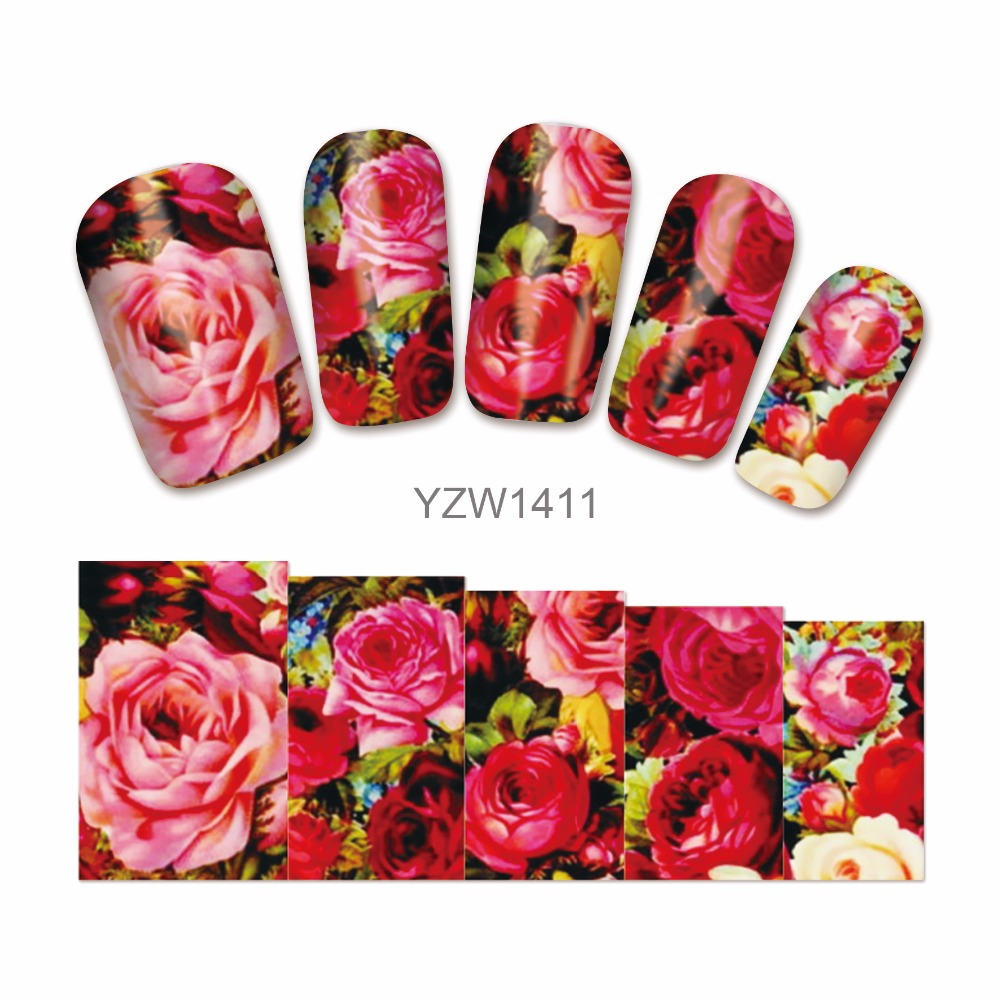 LCJ  Nail Water Transfer Nails Art Sticker Flowers Butterfly Design Nail Wraps Sticker Tips Manicure Nail Supplies Decal 1411 2016 cartoon design nail art manicure tips water transfer nail stickers paradise vacation desgins nails wraps collections decor
