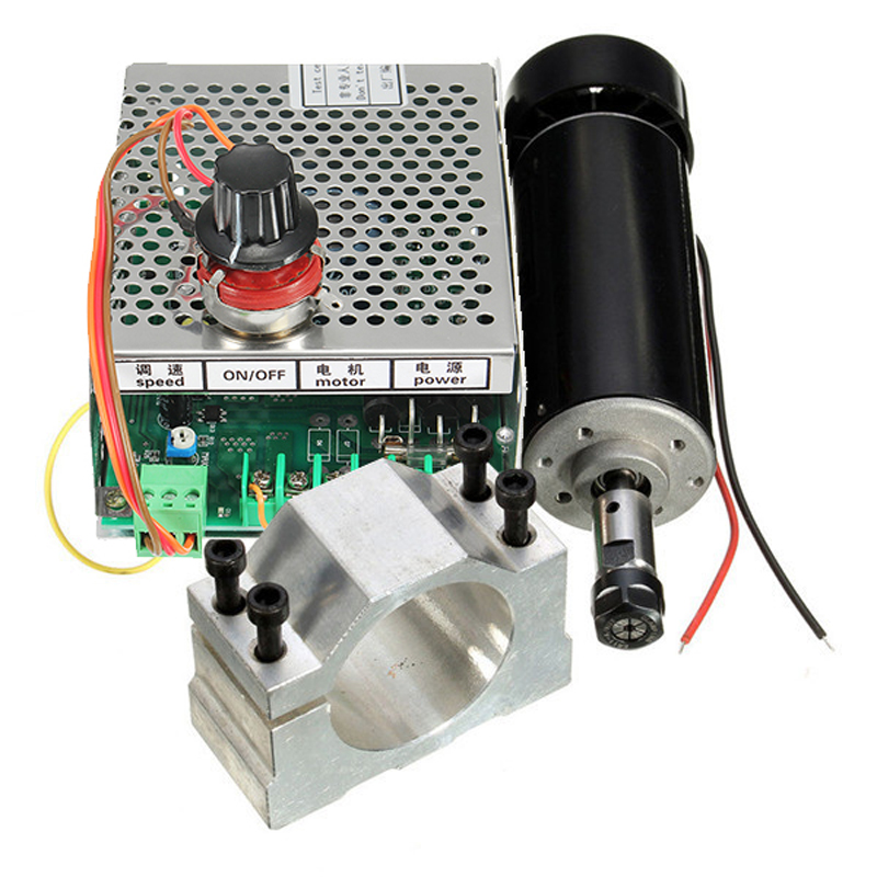 500W Spindle Motor ER11 Chuck CNC with 52mm Clamps and Power Supply Speed Governor For CNC