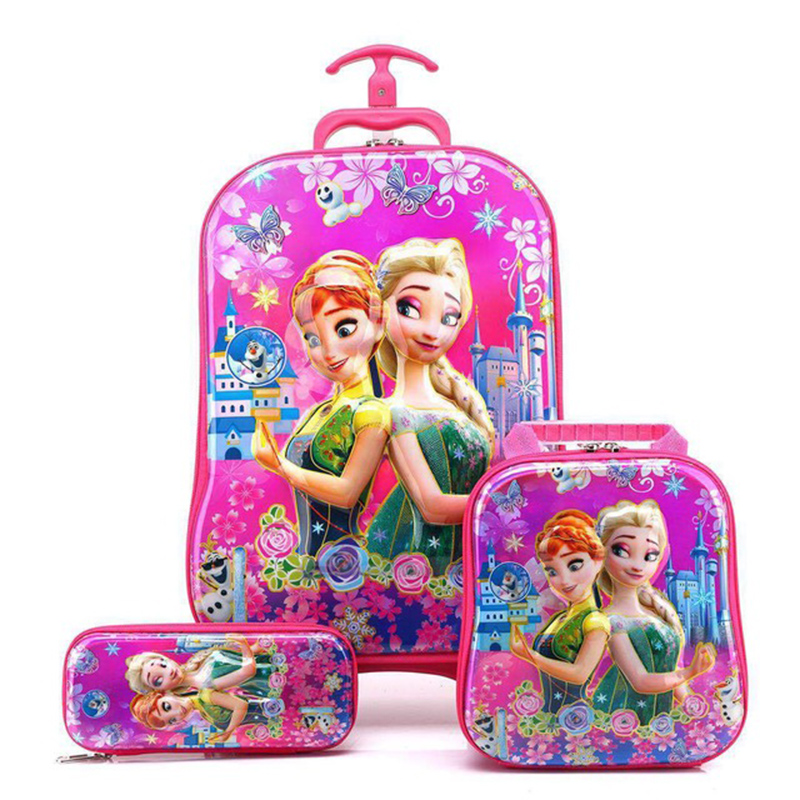 3PCS/Set Kids School Bag Travel Luggage Boy 3D Stereo Pull Rod Box Cartoon Child Pencil Children Girl Backpack Car Model Gift