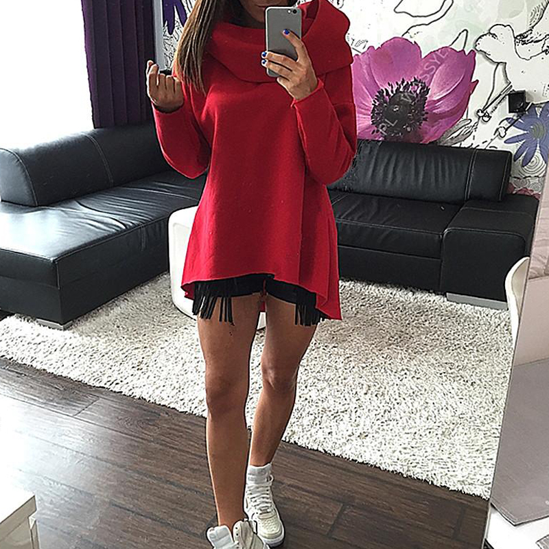 2018 New Fashion Women Autumn Winter Hoodies Scarf Collar Long-sleeved Casual Loose Plus Size Solid Sweatshirts Pullovers