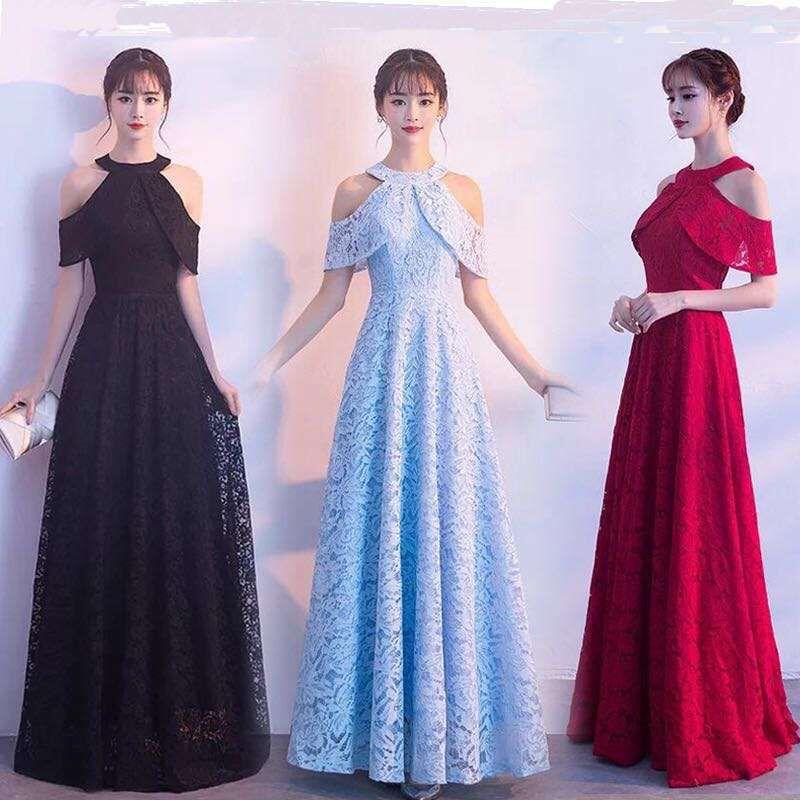 2019 Elegant Lace Wedding Party Dress vestido de festa Halter Off the Shoulder Long Evening Prom Gowns Spandex Maxi Dress Платье