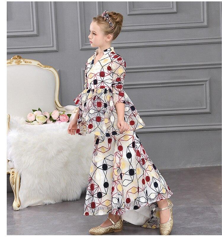 Enfants filles impression robe de sirène bébé mignon princesse robe de soirée modèle Cheongsam mode t-taiwan enfants hôte Costume Y576 - 5