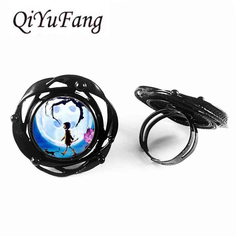 QiYuFang jewelry font b Steampunk b font Coraline vintage flower big ring 1pcs lot Coraline flower