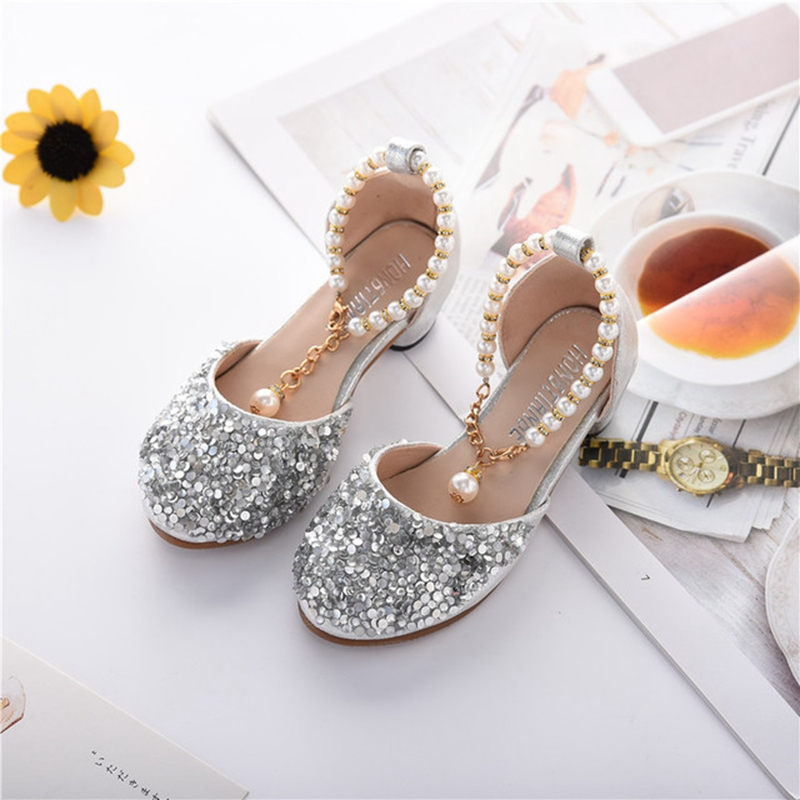 Snoffy Children Party Shoes Rhinestone Girls High Heels Pearl Kids Glitter Shoes Princess Wedding Shoes For Girls  TX373