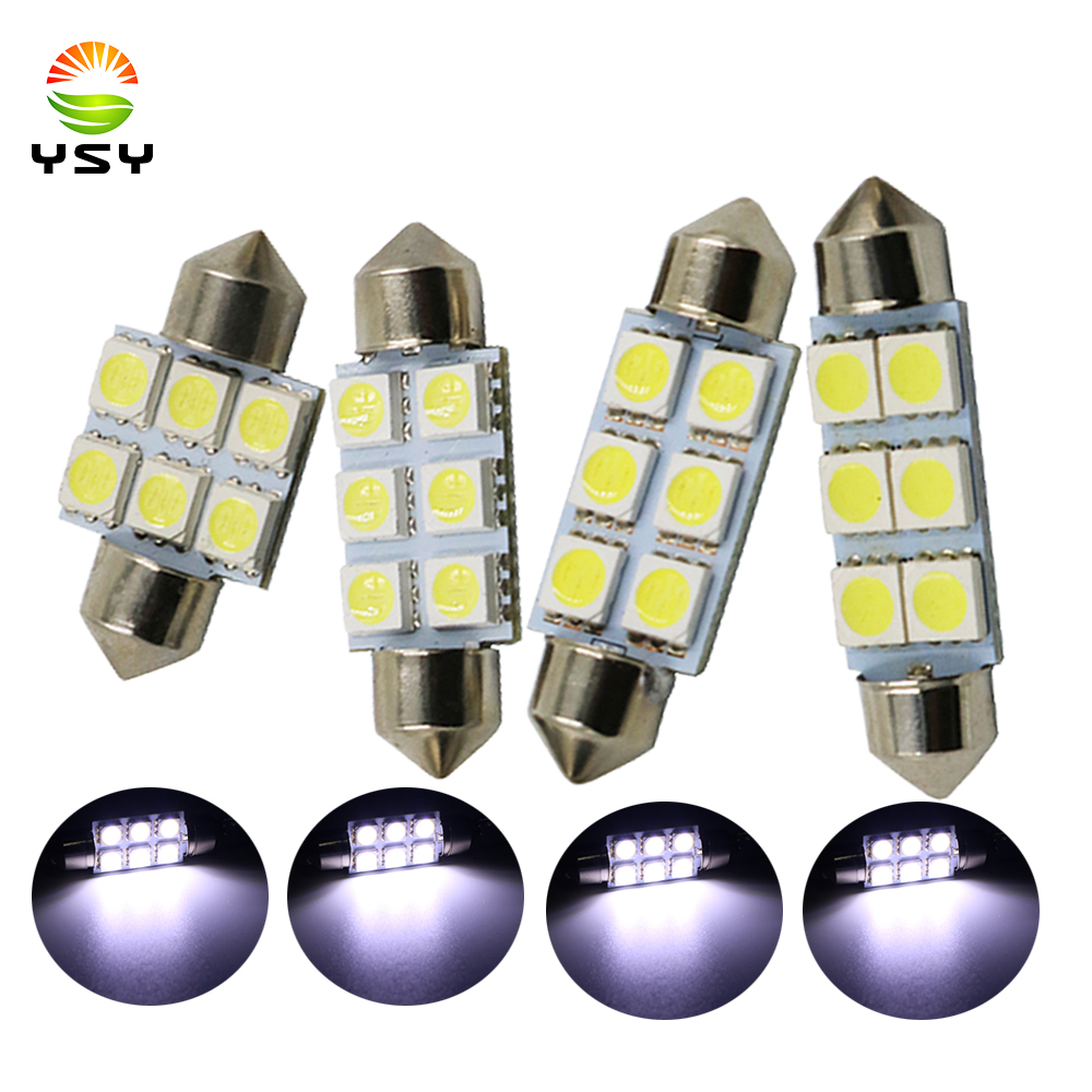 Car Led Bulbs Led Interior Lights Car Led Lights 39mm 6LED 5050SMD White 2pcs