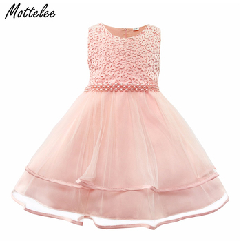 Mottelee Baby Girls Dress Infant Party Dresses Toddler Birthday Beading Gowns Vintage Newborn Baptism Frocks Christening Dress with hat baby christening dress empire waistline short sleeves lace appliques ruffled baby girl baptism birthday gowns hot sale