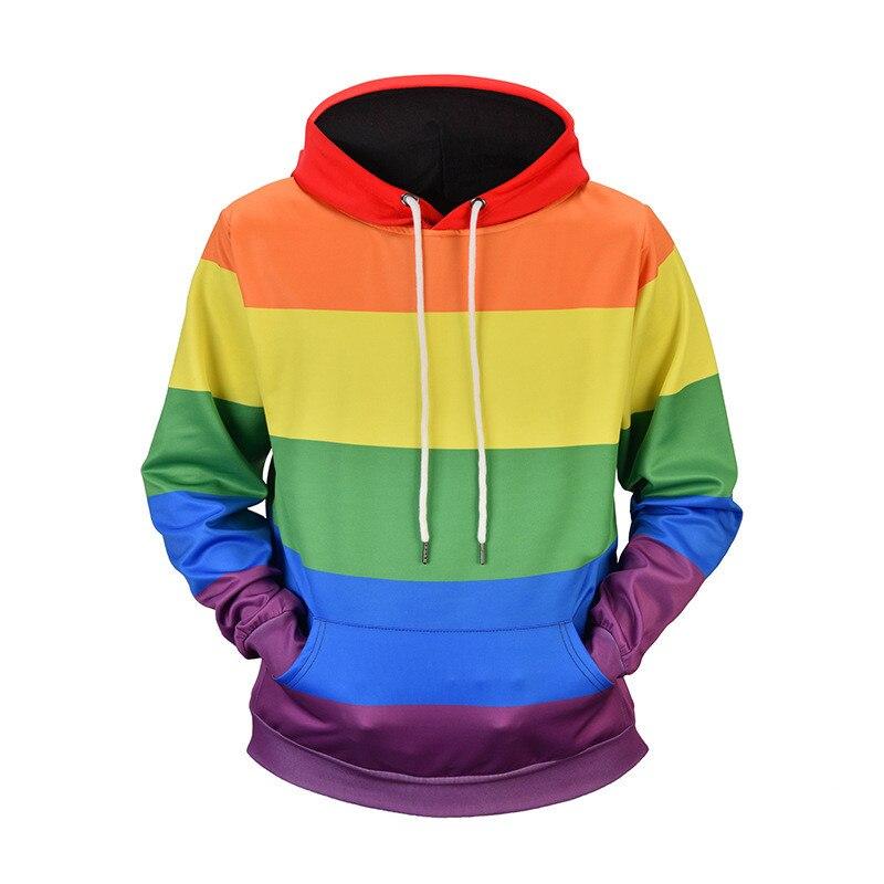 Sweat à capuche pour femme Sweatshirts arc-en-ciel rayé manches longues automne printemps pulls sweat à capuche Streetwear manteaux filles sweat