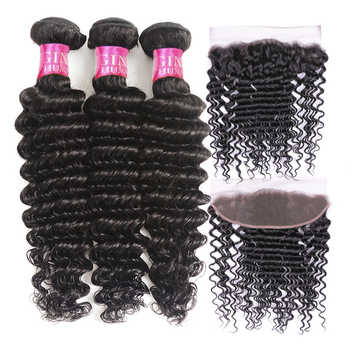 Beauty Grace Deep Wave Bundles With Frontal Brazilian Lace Frontal Closure With Bundle Non Remy Human Hair Bundles With Frontal - DISCOUNT ITEM  45% OFF All Category