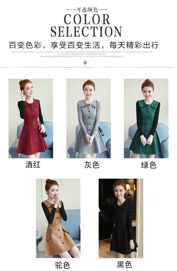winter new round collar single-breasted cloth dress belt buttons A word women dresses Korean fashion outfit lady vogue vestido 12