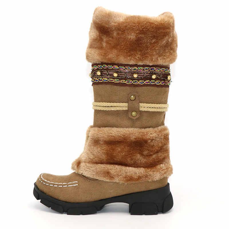 Taoffen Mới Mùa Đông Ấm Đầu Gối Giày Lông Dày Dặn Cao Gót Giày Nữ Giày Nữ Thời Trang Gợi Cảm Dài Ủng Size Lớn 35-43