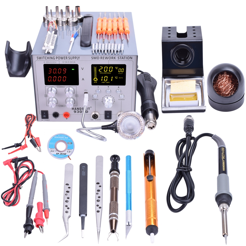 4 in 1 Hot Air Gun Rework Station handskit 9305d +Soldering Iron Station Power Supply 5v2a with Accessies soldering station saike 852d rework station soldering iron hot air rework station hot air gun 2in1 with holder and gift e