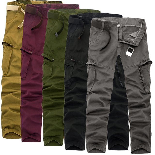 New Men 2016 Cargo Pants army green big pockets decoration Casual  Loose type male autumn pants Camouflage long trousers