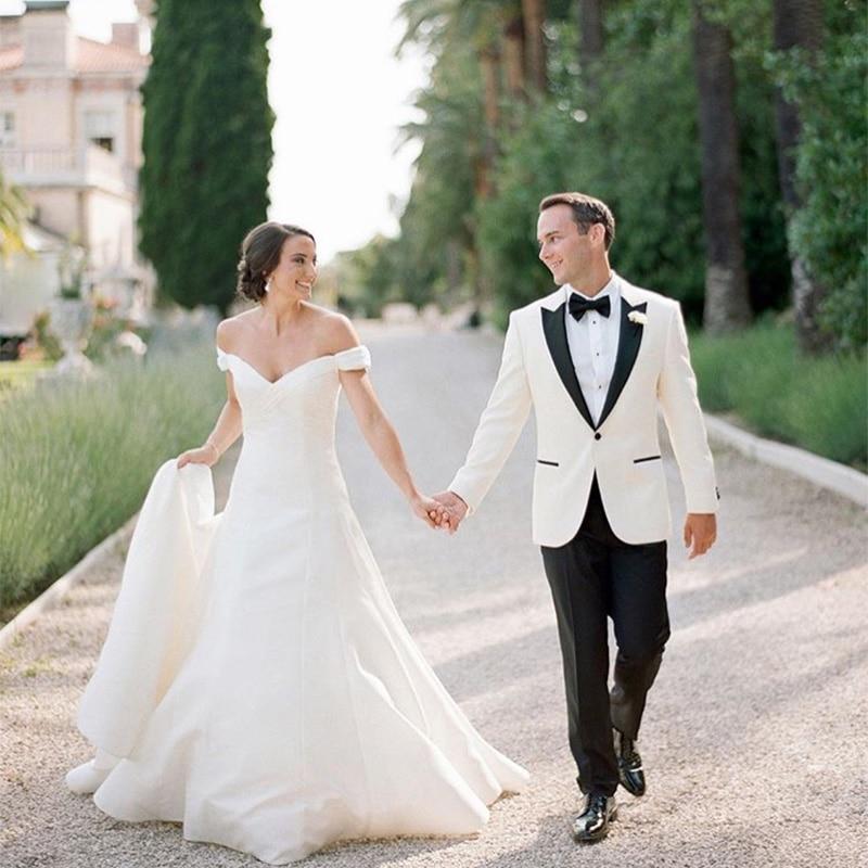 Off The Shoulder Wedding Dress A-line Satin Simple Country Garden Bridal Gowns Sweep Train 2019 Vestido De Novia White Ivory