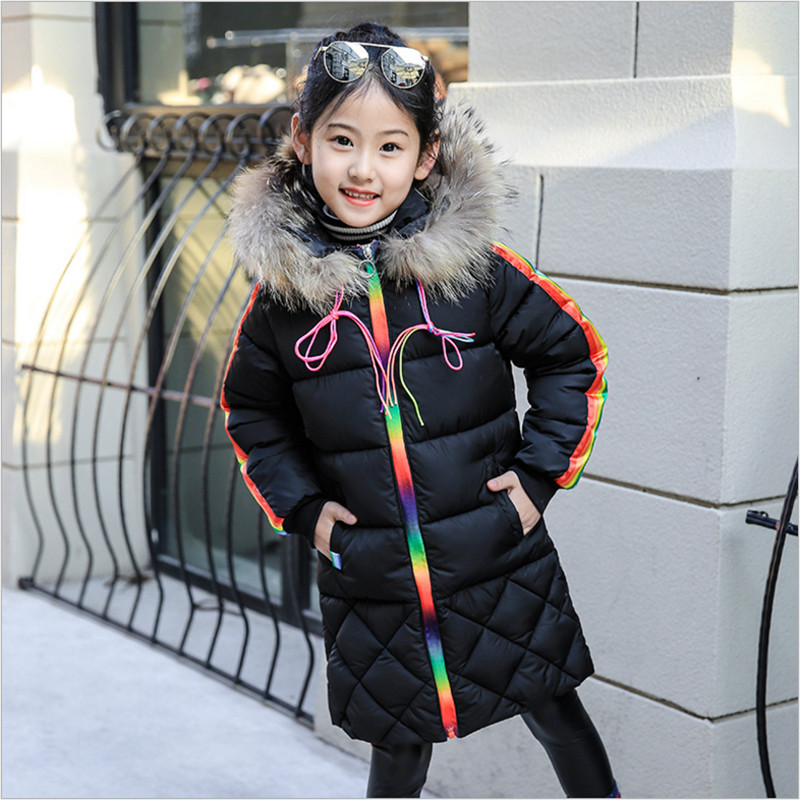 IIMADFWIW Girls Parkas Winter Coat Cotton Jackets Fashion Rainbow Casual Hooded Wadded Jackets Girl's Outerwear 110-160 2017 new winter women wadded jacket outerwear plus size hooded loose thickening casual cotton wadded coat parkas student ws299