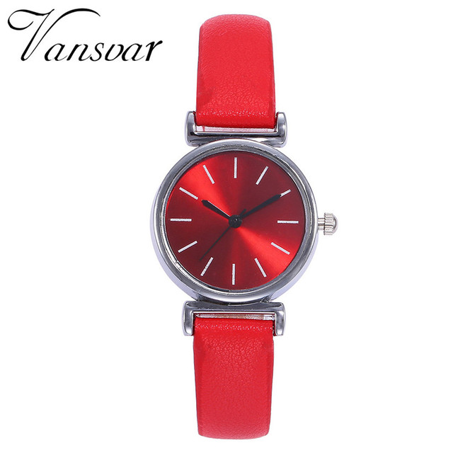Vansvar Brand Fashion Silver Case Creative Leather Strap Wrist Watch Casual Wome