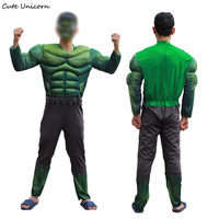 The Avengers Hulk Costume Adult Muscle Jumpsuit Mask Halloween Cosplay Costumes Superhero Fancy Dress Carnival Mens