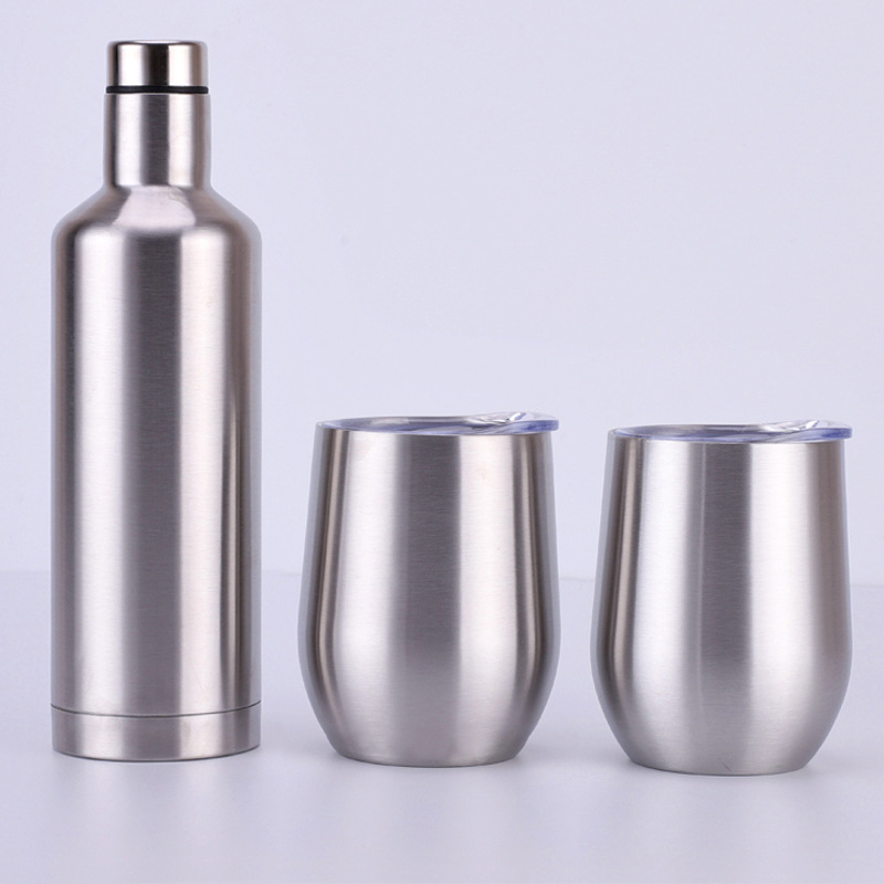 Hot sales 500ml Stainless steel red wine bottle 12oz vodka mug cup liquor Whisky hip flask thermos flasks gift box set