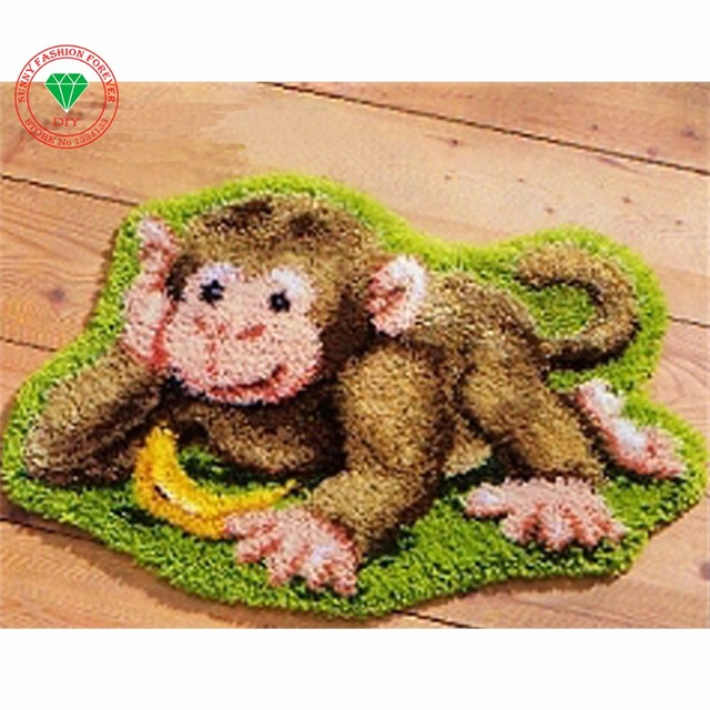 Needlework Cross Sch Thread Embroidery Kits Carpet Latch Hook Rug Cartoon Monkey Rugs Carpets