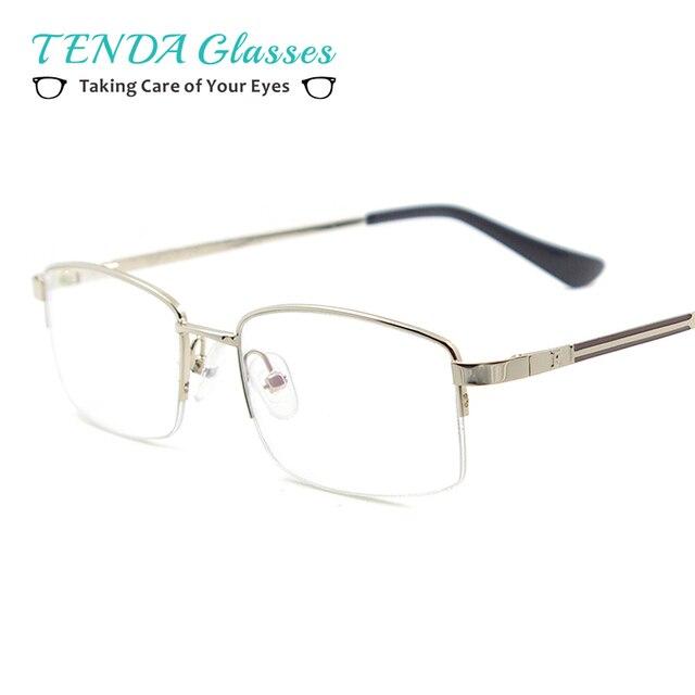 4bebbd2479752 Estilo de negócio de Metal Metade Aro Homens Óculos Retângulo Armações de  óculos De Prescrição Multifocal