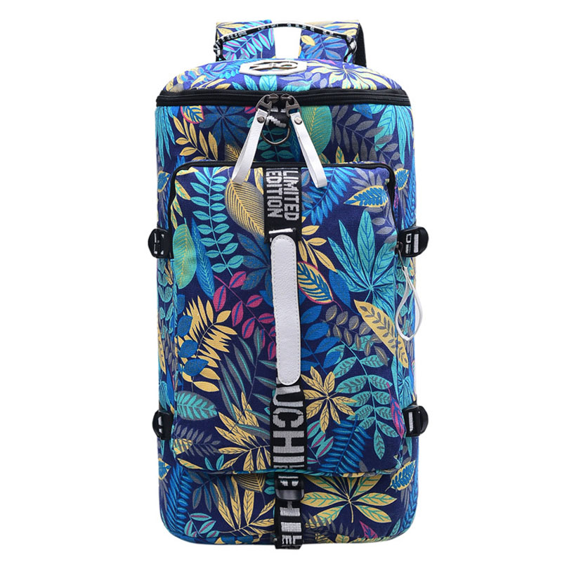 Outdoor Large Capacity Red Palm Trees Canvas Gym Bag Sport Men Women Big Sport Bag Fitness Bag Handbag Yoga Mat Bag Sac De Sport 36l women gym bag new style men fitness backpack waterproof oxford outdoor mountaineering bag large capacity travel sport bag