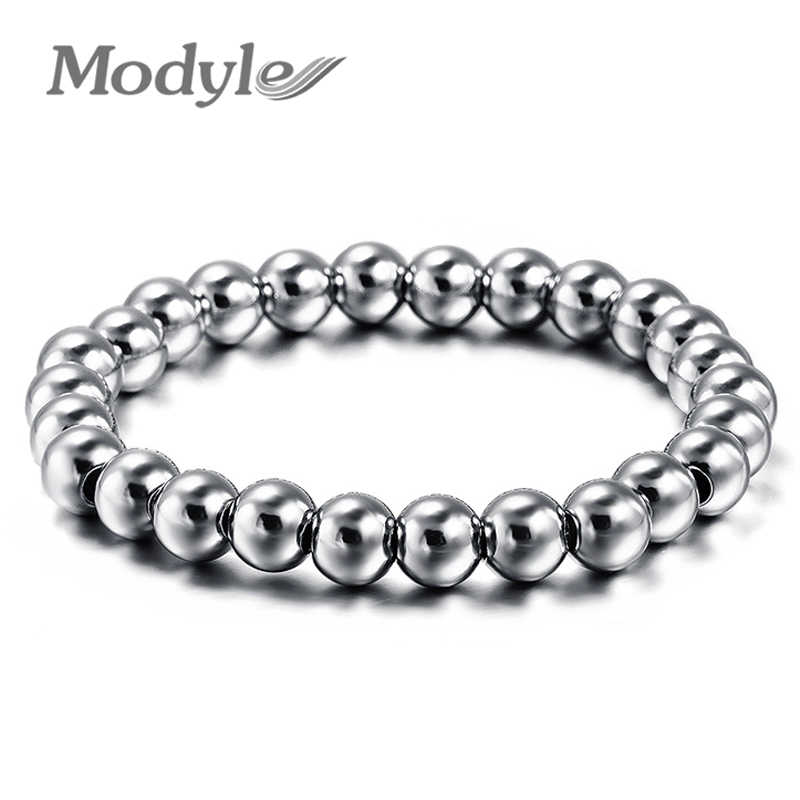 Punk Style 316L Stainless Steel Mens Bracelet Classical Biker Bicycle Heavy Metal 8MM Ball Link Chain Jewelry Bracelets For Men