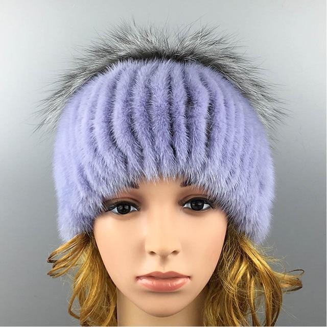 2016 Winter Beanies Fur Hat  Mink Women Fur for Women Hat High Quality Novelty Mink Fur Ball Solid Cap