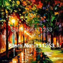 2016 Home Decor Real Special Offer Romantic Night Classical Knife Oil Painting 100% Hand Painted Wall Art Picture free Shipping
